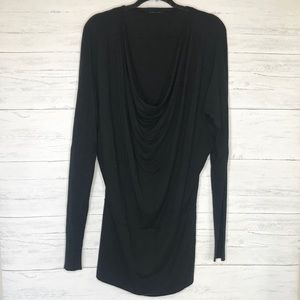 Black Halo Cowl Neck Long Dolman Sleeve Dress